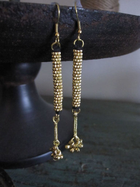 Brass beaded drop earrings with black cotton