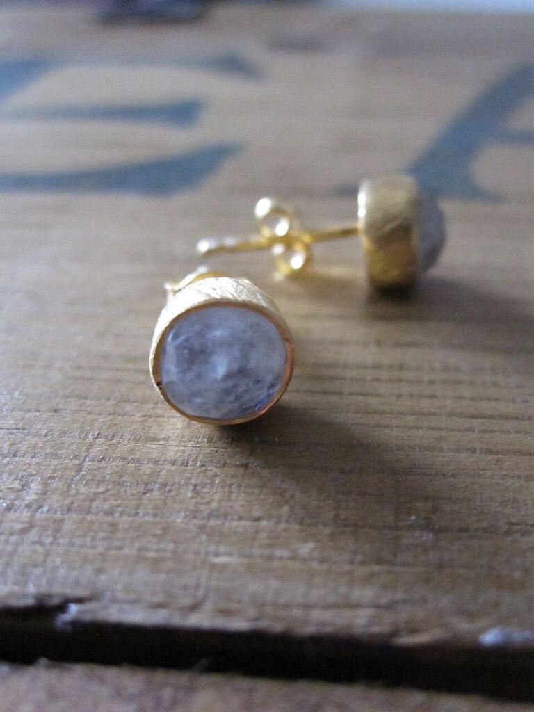 CollardManson 925 Silver Gold Plated Rainbow Moonstone Brushed Studs