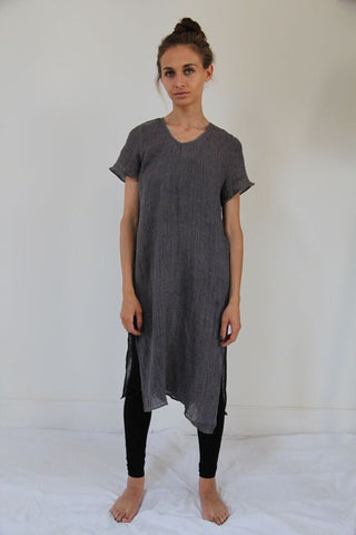 CollardManson Open Side Crinkled Linen Dress- Grey