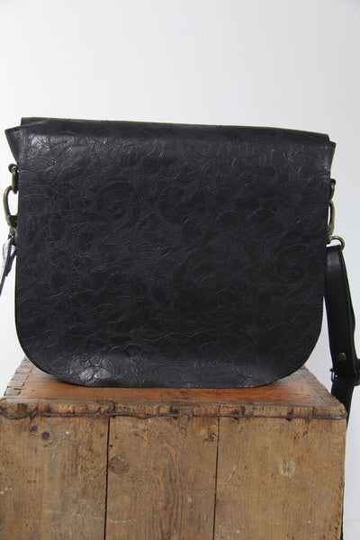 CollardManson Black Floral Saddle Satchel Bag