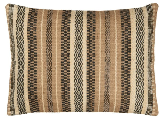Striped Wool & Jute Woven Cushion Cover
