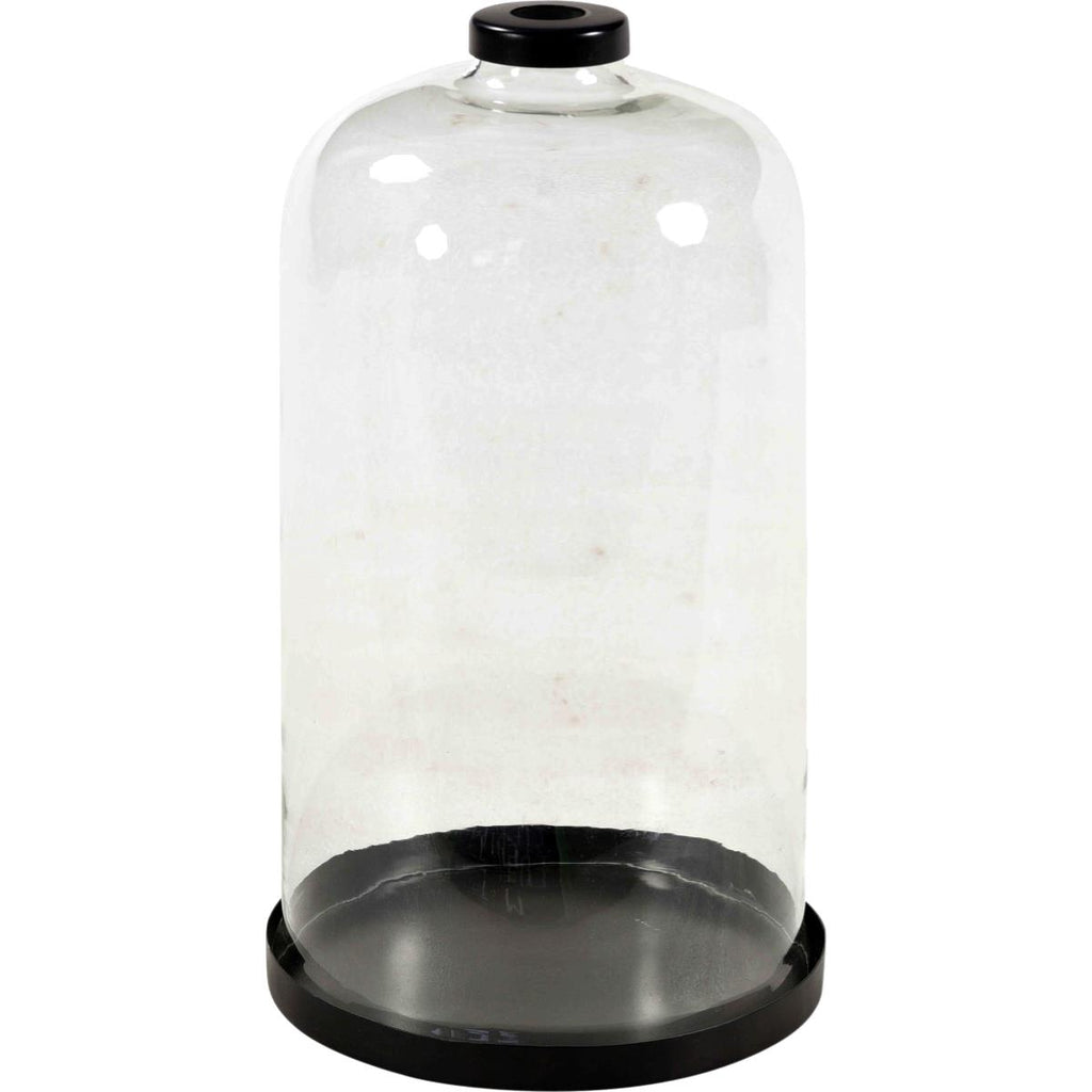 Large glass bell on metal base