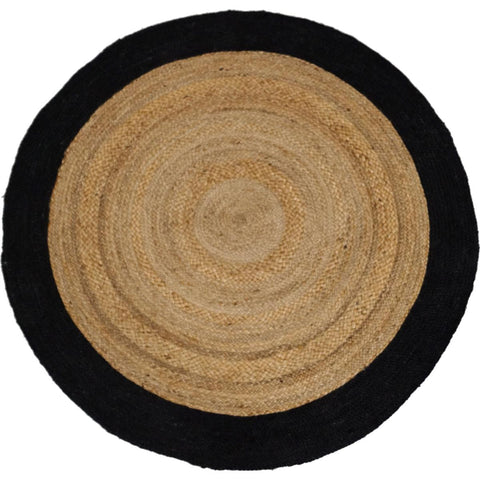 Handloomed jute rug w /black border 150 cm round