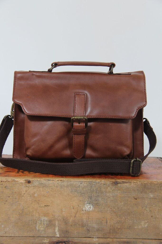 Isaac Tan Leather Satchel Bag