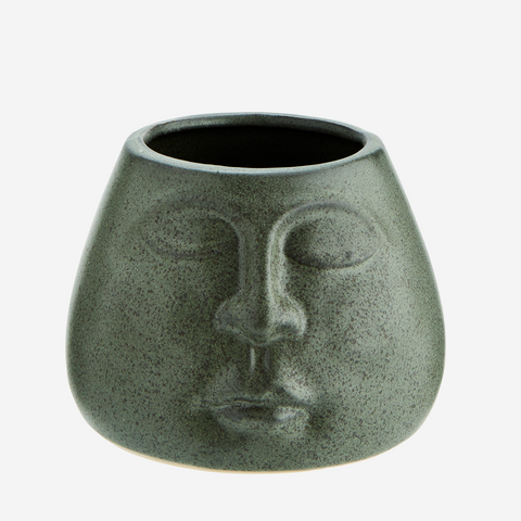 FLOWER POT W/ FACE IMPRINT - Matt Green