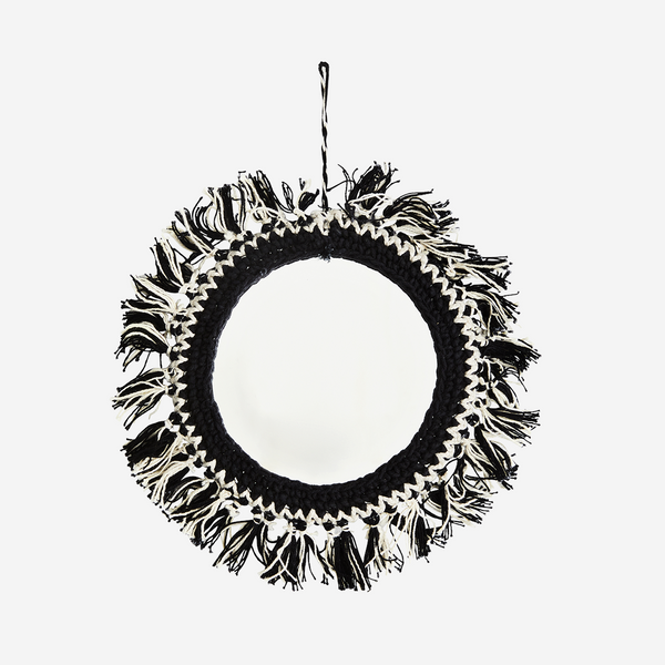 HANGING MIRROR W/ COTTON FRINGES