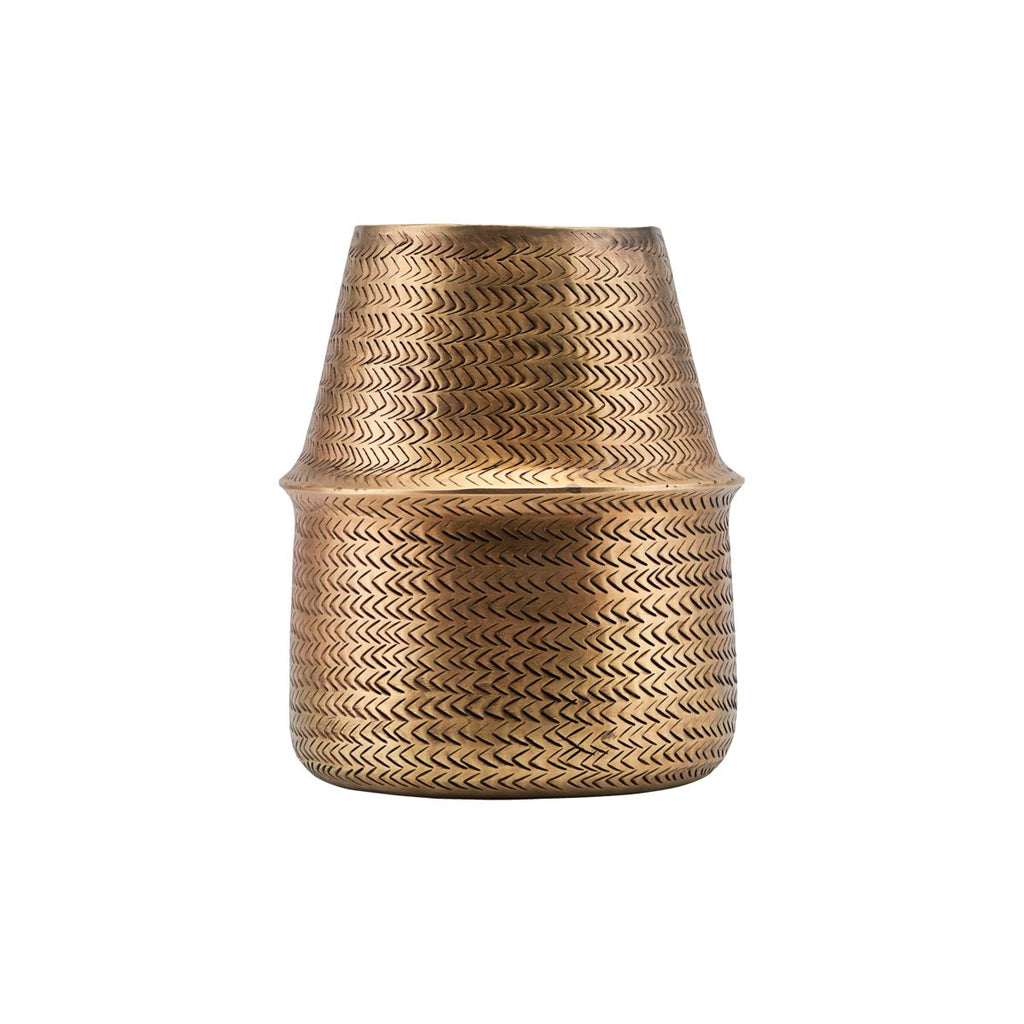 PLANTER, RATTAN, BRASS FINISH Tall