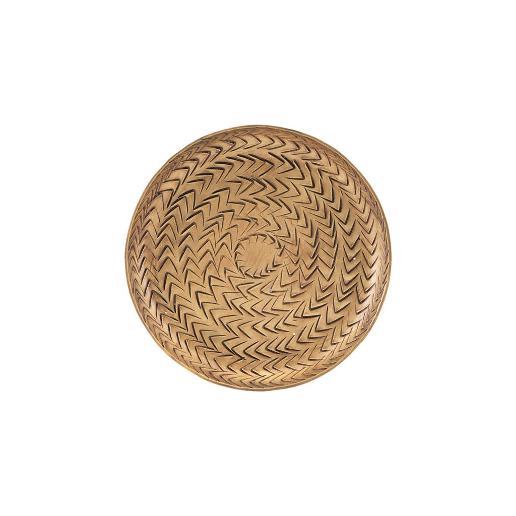 TRAY, RATTAN, BRASS FINISH Small