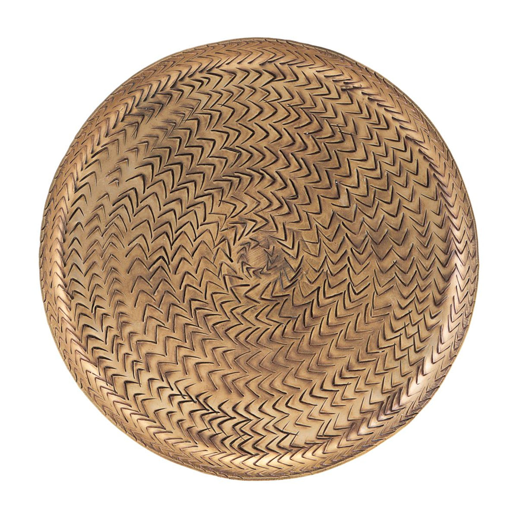 TRAY, RATTAN, BRASS FINISH Large