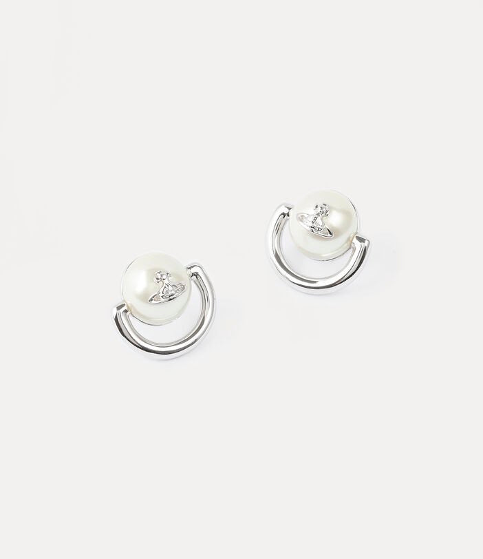 Vivienne Westwood Celia Small Earrings - Rhodium Cream