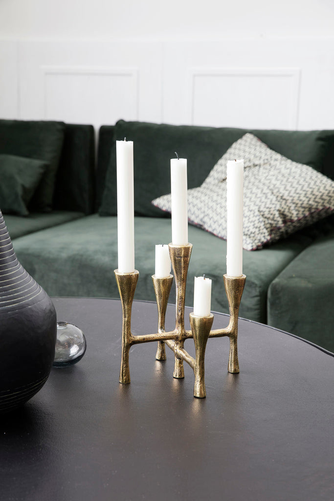 Tristy Candle Stand - Brass Finish