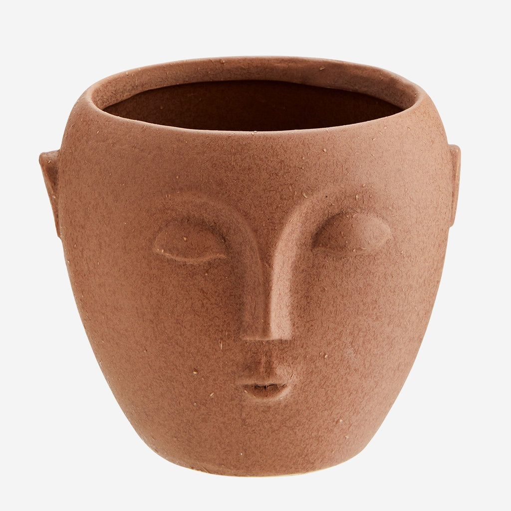 Flower Pot w/ Face Imprint- Terracotta