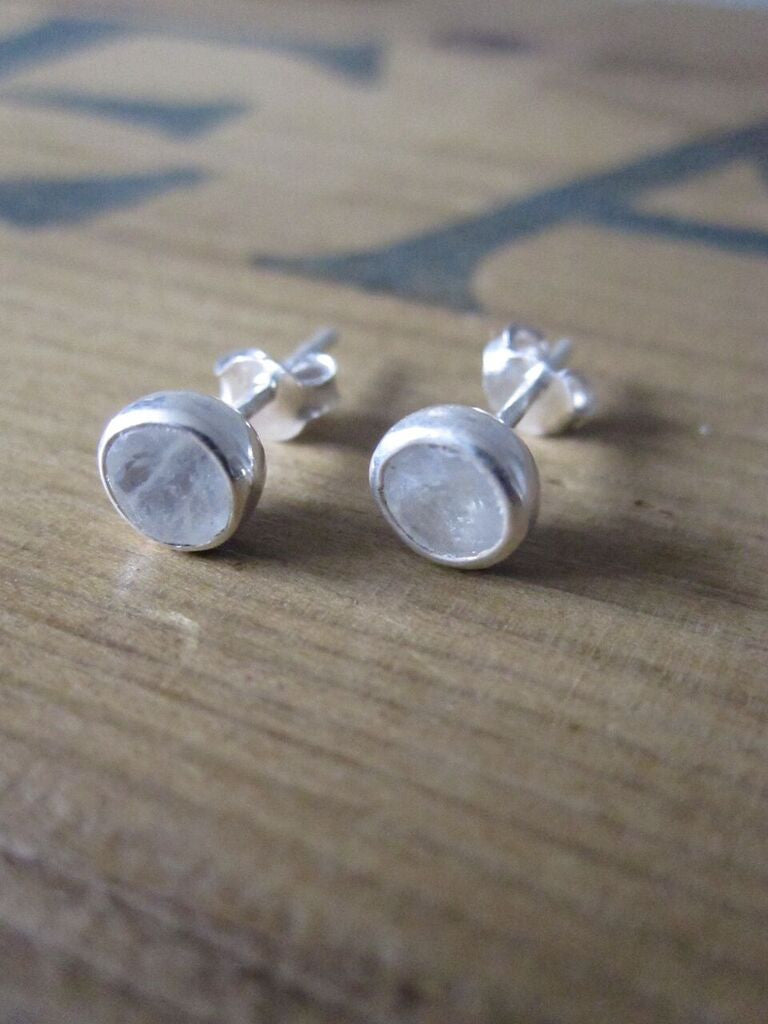 CollardManson 925 silver studs with rainbow moonstone