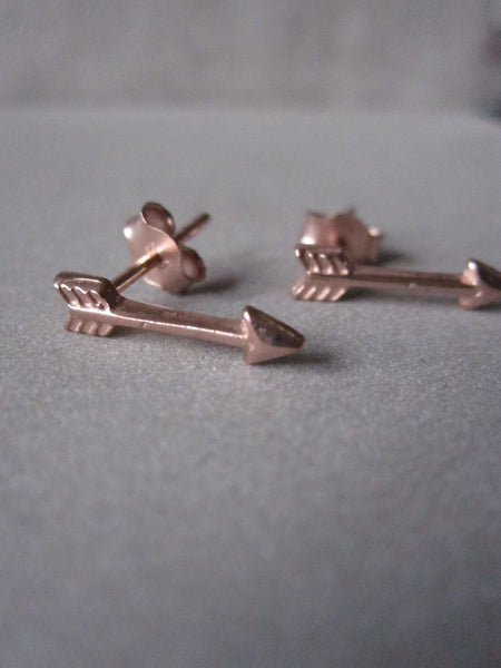 925 Silver Small Arrow Studs - Rose Gold