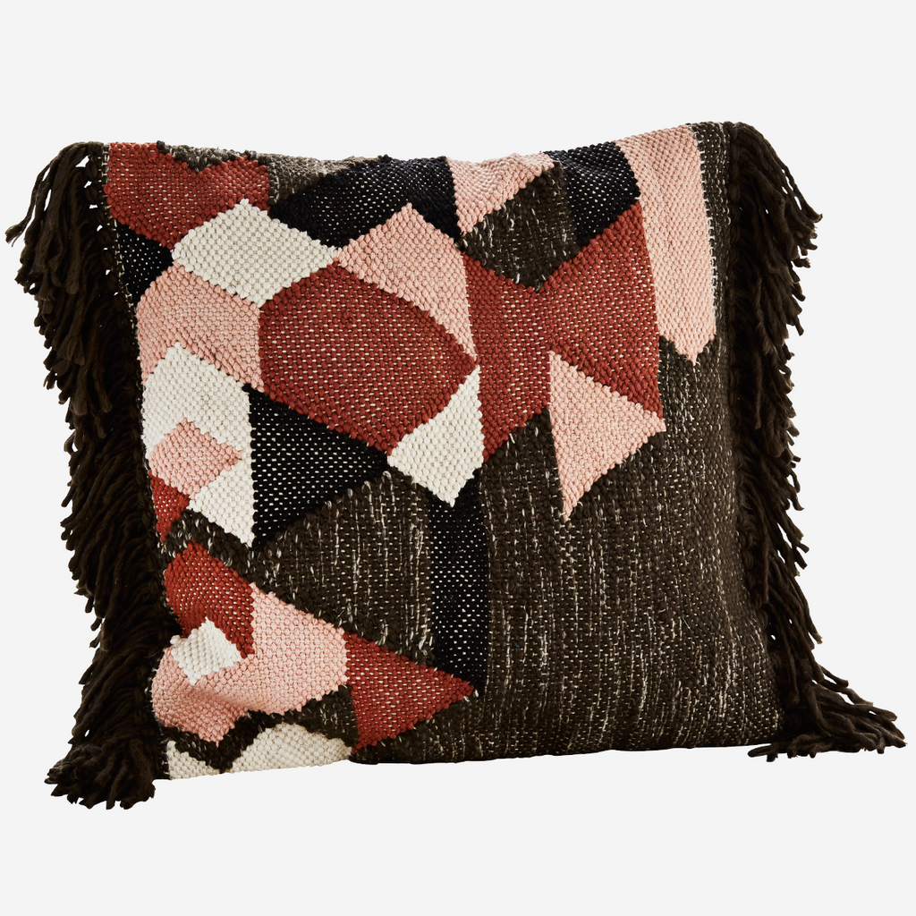 Brown/black/off white/dusty rose/paprika cotton cushion with fringes