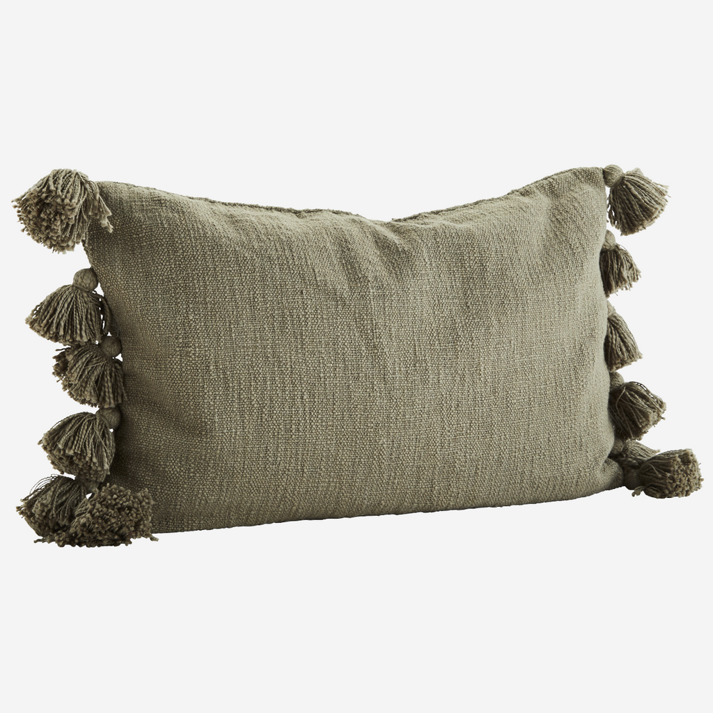 CUSHION COVER W/ TASSELS olive