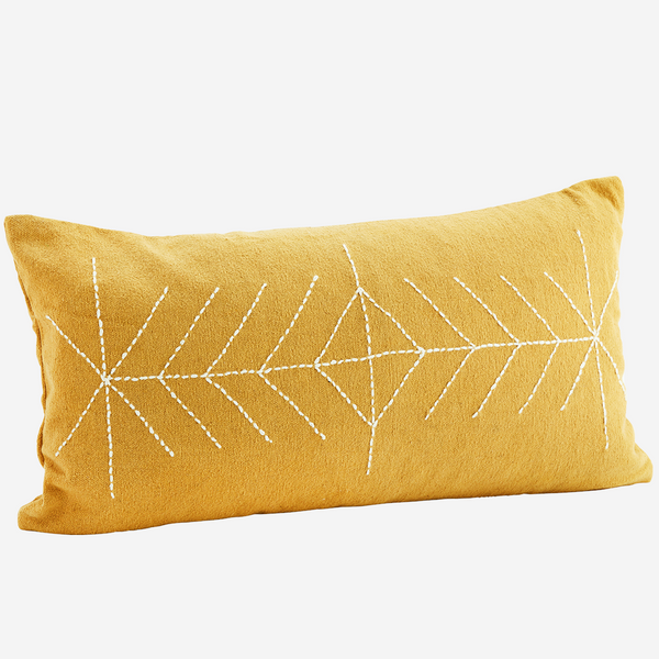 EMBROIDERED CUSHION COVER Mustard
