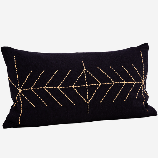 EMBROIDERED CUSHION COVER black
