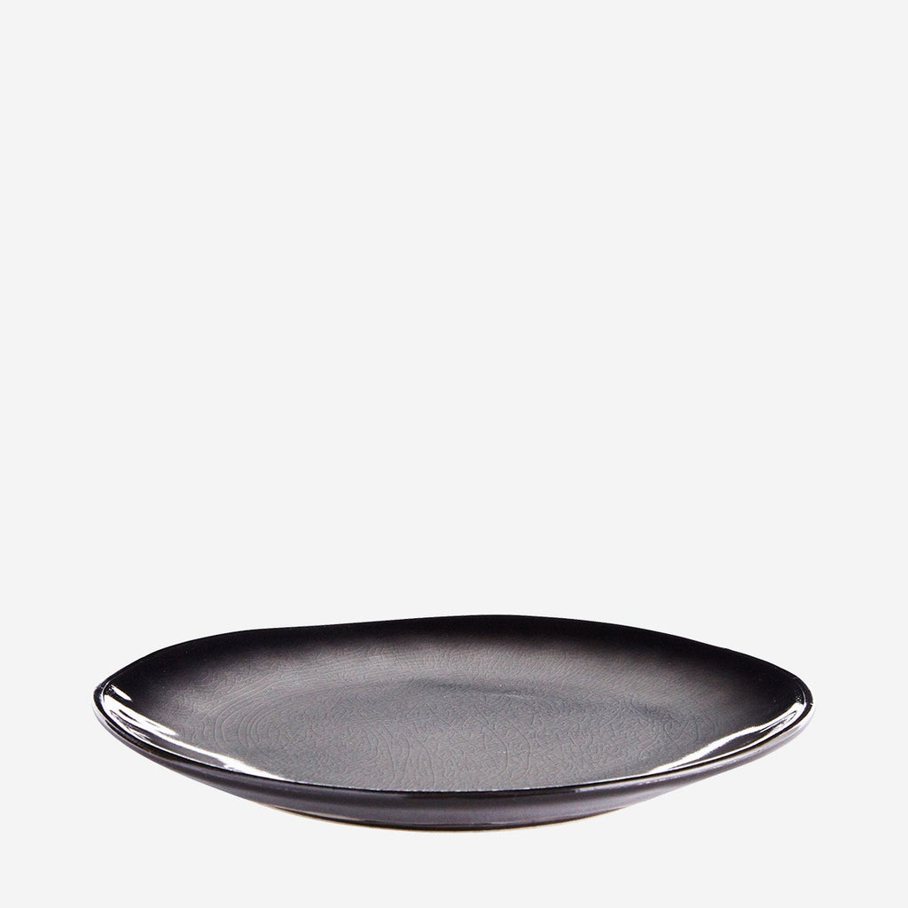 Stoneware Plate - Grey/Black