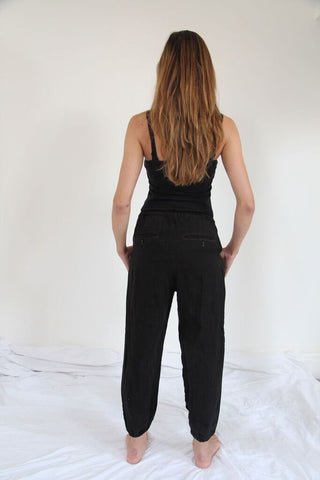 CollardManson Linen Trousers- Black Overdye