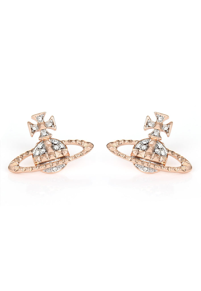 Vivienne Westwood Mayfair Bas Relief Earrings - Pink Gold/Crystal