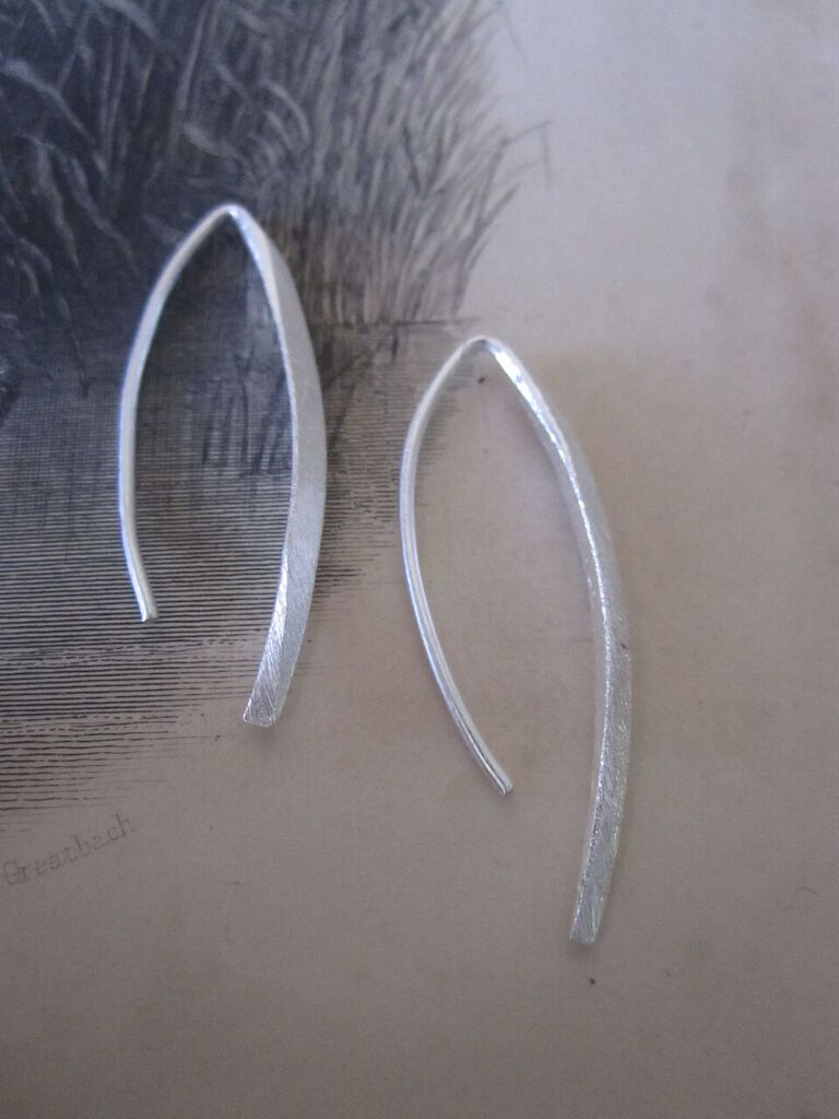 CollardManson 925 Silver Curved Earrings Small
