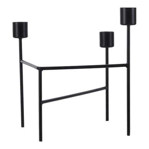 CANDLE HOLDER, THREE, MATT BLACK