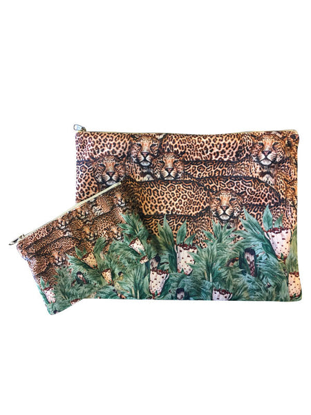 Velvet Makeup Bags and Pouch- Floral Leopard