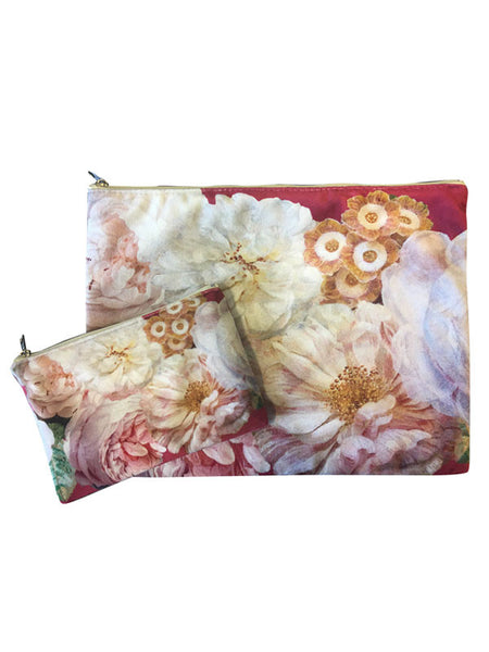 afb1bd2e8e Velvet Makeup Bags and Pouch- Pink Floral