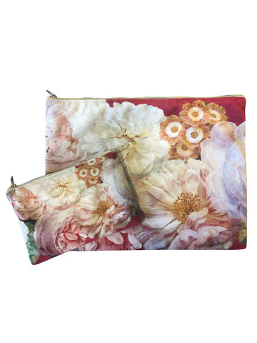 Velvet Makeup Bags and Pouch- Pink Floral