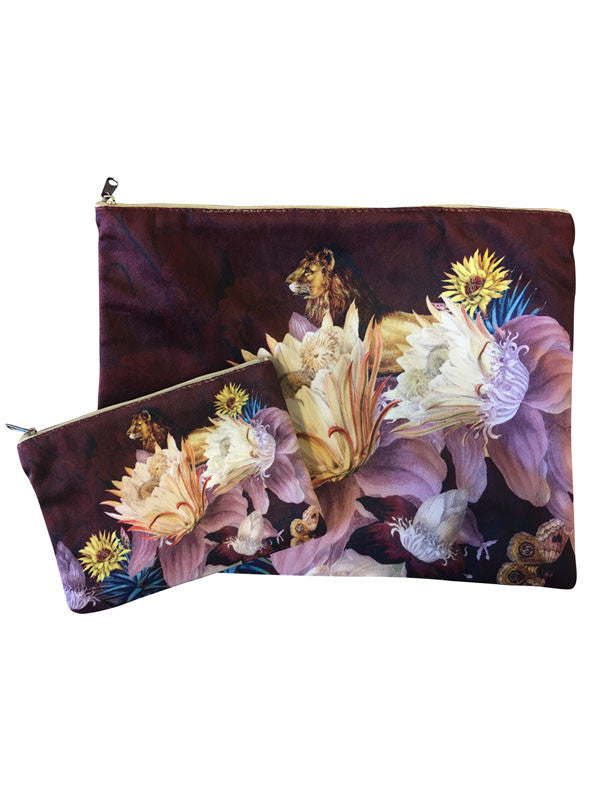 Velvet Makeup Bags and Pouch- Plum Toile Protea