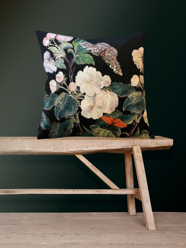 Velvet Cushion Appleblossom-black