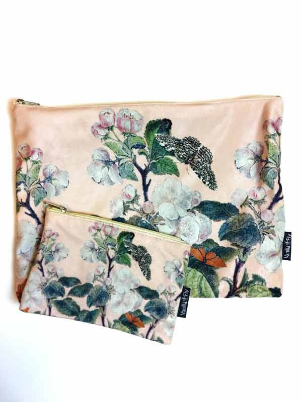Velvet Makeup Bags and Pouch - Baby Pink Blossoms