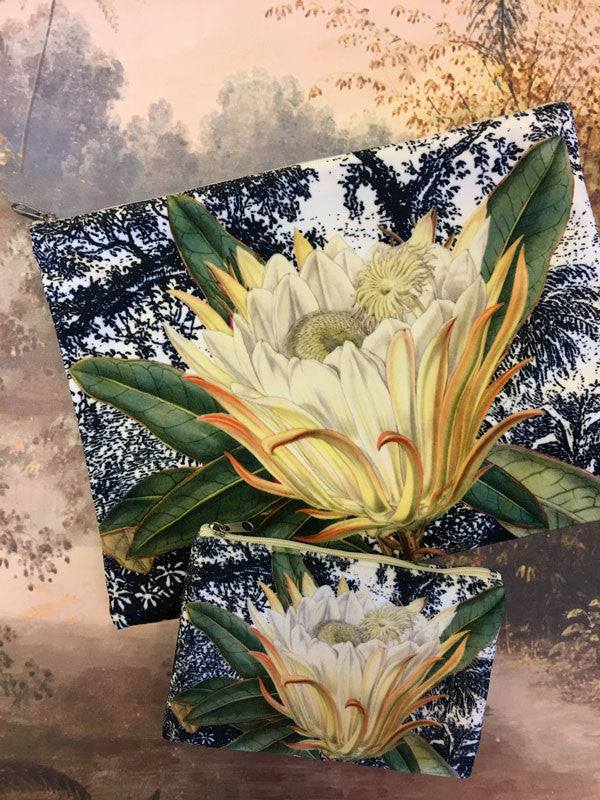 Velvet Makeup Bags and Pouch - Black and White Toile Protea