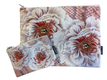 Velvet Makeup Bags and Pouch - Baby Pink Hibiscus Rose