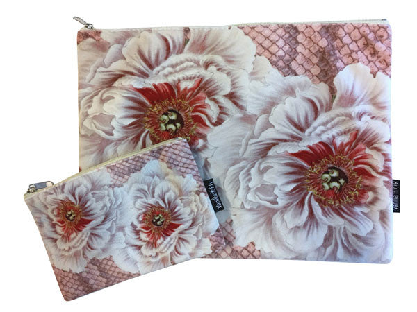 bd15a75d77 Velvet Makeup Bags and Pouch - Baby Pink Hibiscus Rose