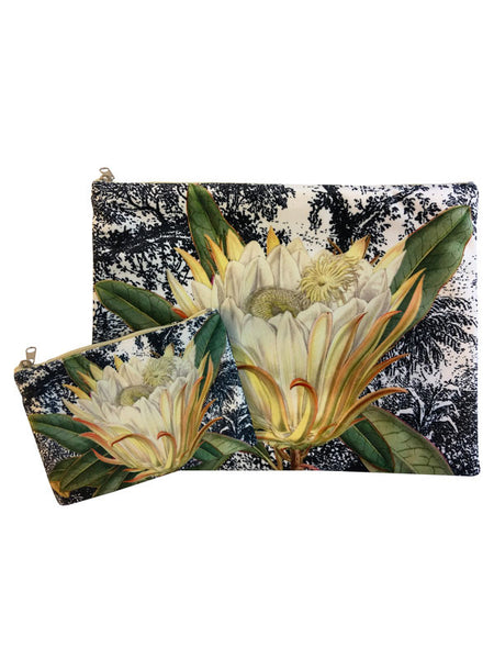 4b355493fb Velvet Makeup Bags and Pouch - Black and White Toile Protea