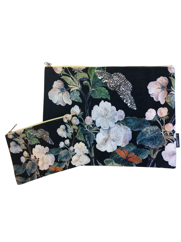 Velvet Makeup Bags and Pouch - Dark Blossoms