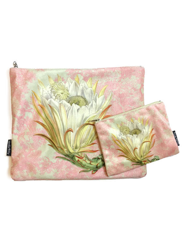 Velvet Makeup Bags and Pouch - Pink Toile Protea