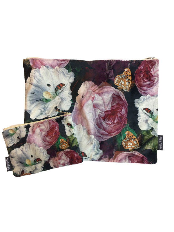 Velvet Makeup Bags and Pouch - Peony and Butterfly