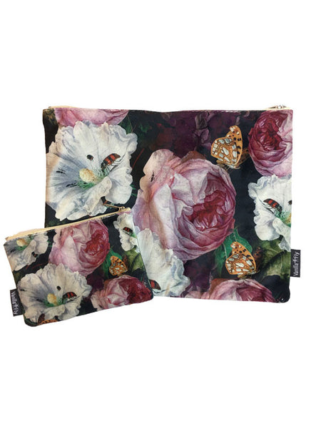 50dd85bd2e Velvet Makeup Bags and Pouch - Peony and Butterfly