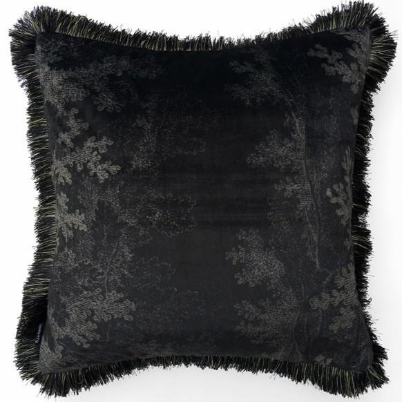 Black Woods Cushion w/ Fringe