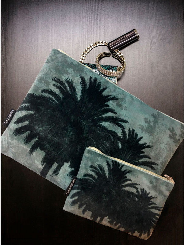 Velvet Makeup Bags and Pouch - Jungle Palm