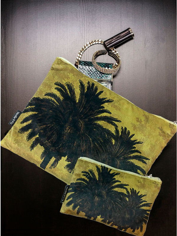 Velvet Makeup Bags and Pouch - Mustard Palm