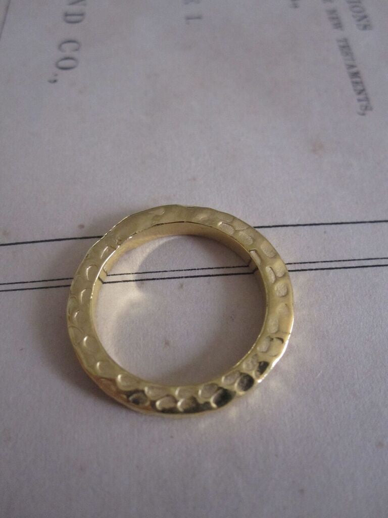 925 silver hammered band- Gold Plated