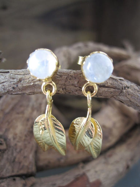 CollardManson 925 silver Gold Leaf Drop Earrings