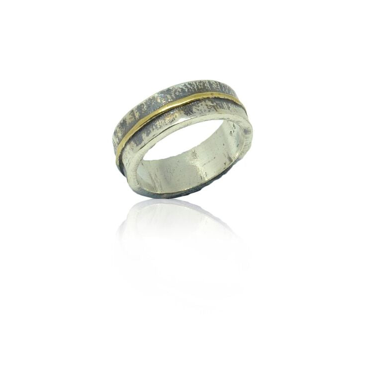925 Solid Silver and Gold Plated Stripe Ring