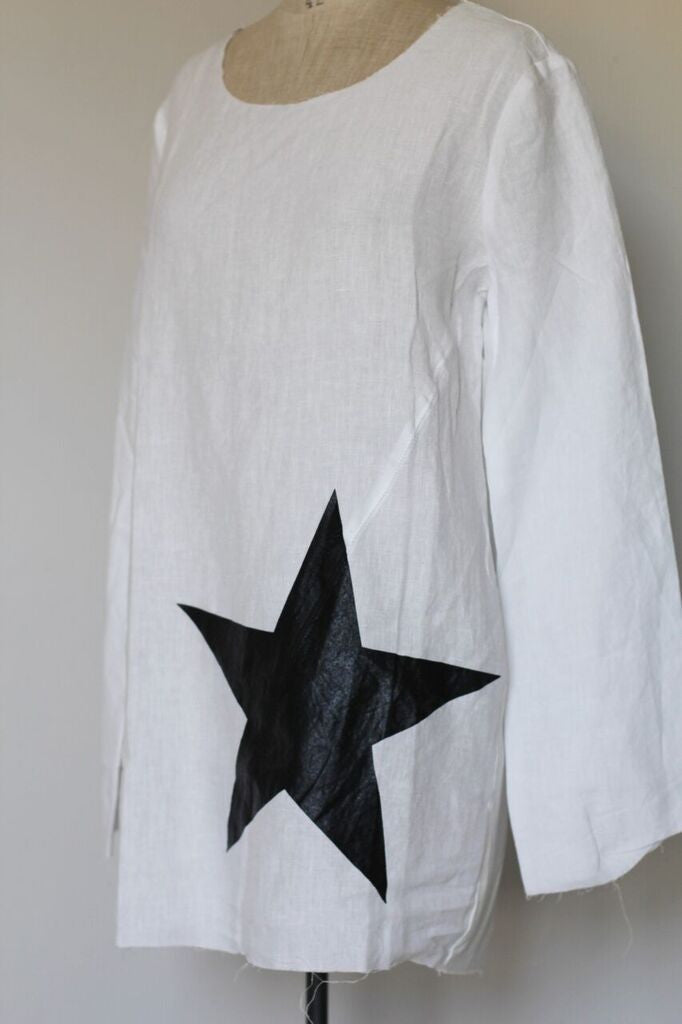 Window Dressing The Soul- Star Linen Top- white