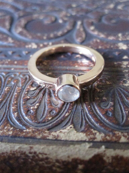 925 Silver Rose Gold Plated Stone Ring-  Moonstone