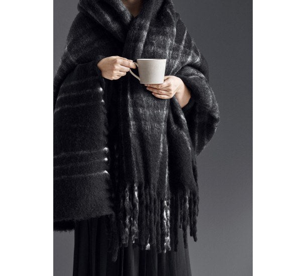 Black Checks Blanket - Mohair Look